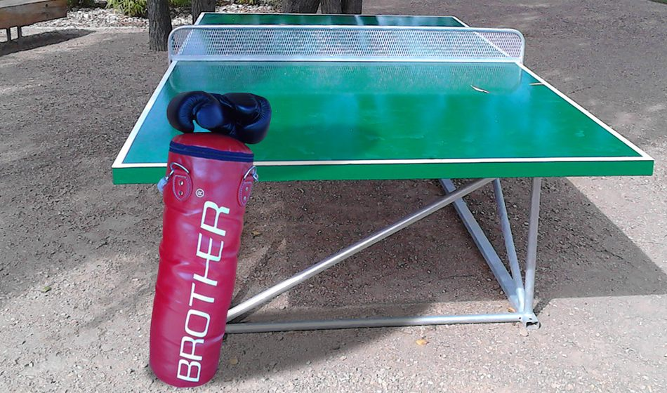 Table tennis and boxing bag